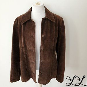 Skotts Suede Jacket Coat Brown Washable Button Up